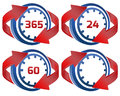 Time vector illustration of clock with year day and minute variations Royalty Free Stock Images