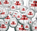 On time words flying clocks punctuality by to illustrate for staying schedule for meeting and improtant appointments or Stock Photography