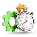 Time works concept with stopwatch and gears Royalty Free Stock Image