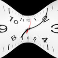 Time wrap concept of twisted clock face Stock Photo