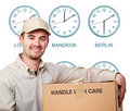 Time zone delivery man Stock Photography
