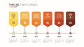 Timeline chart infographic template for data visualization. 6 st
