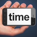 Timeline concept: Time on smartphone Stock Photography