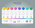 Timeline infographic business concept with 8 options.