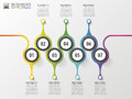 Timeline infographics design template with numbers. Modern concept. Royalty Free Stock Photo