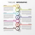 Timeline Infographics. Hexagon...