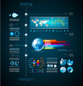 Timeline to display your data with infographic in order elements technology icons graphs world map and so on ideal for statistic Royalty Free Stock Images