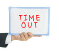 Timeout on white board text Royalty Free Stock Images