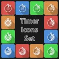 Timer icon set with long shadow this is file of eps format Royalty Free Stock Photo