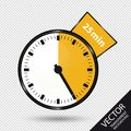 Timer 25 Minutes - Vector Illustration - Isolated On Transparent Background