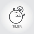 Timer outline icon. Mono linear label. Lunch time, countdown cooking, fast delivery and accuracy concept pictograph