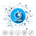 Timer sign icon. 20 minutes stopwatch symbol. Royalty Free Stock Photo