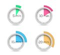 Timers collection set of five ten fifteen and twenty minutes Stock Photography