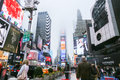Times square im nebel new york city Stockfotos