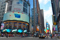 Times square at nd street in new york city with large bill boards Stock Photo