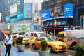 Times square new york june taxis drive along on june in is one of most recognized landmarks in the world Stock Images