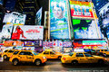 Times square nyc billboards new york city and yellow taxicabs february Stock Image