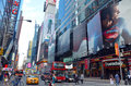 Times square at th avenue in new york city with large bill boards Royalty Free Stock Photos