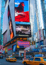 Times square view of the famous in manhattan nyc Stock Photos
