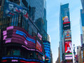 Times square view of the famous in manhattan nyc Stock Images