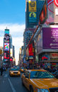 Times square view of the famous in manhattan nyc Royalty Free Stock Photos