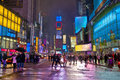 Times suare square the first night and snow Royalty Free Stock Images