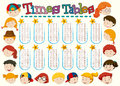 Times tables chart with happy kids background
