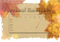 Timetable autumn theme school on recycled natural paper background with maple leaves Stock Image