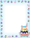Timid Gray Bunny on Blue with an Easter Egg Boarder