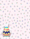 Timid Gray Bunny on Easter Egg background