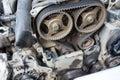 Timing belt repair car of Stock Photos
