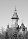Timisoara orthodox cathedral the tower of the timișoara catedrala mitropolitană din timișoara in timișoara romania black and Stock Photography