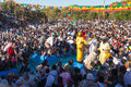 Timkat festival at lalibela in ethiopia an orthodox priest baptizes the pilgrims crowd a pool Royalty Free Stock Photos