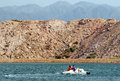 Timna park and king solomon s mines israel isr oct visitors sail a peddle boat over lake on october it the world first copper Stock Photos