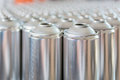 Tin blank tubes in rows Royalty Free Stock Photo