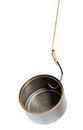 Tin can in fishing hook Stock Photos