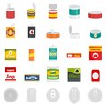 Tin can food package jar icons set, flat style Royalty Free Stock Photo