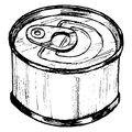 Tin can hand drawn sketch cartoon illustration of Royalty Free Stock Photography
