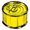 Tin can hand drawn sketch cartoon illustration of Royalty Free Stock Images
