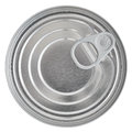 Tin can lid food preserve ringpull canister sealed top isolated macro closeup Royalty Free Stock Image