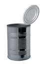 Tin can opened on a white background Royalty Free Stock Image