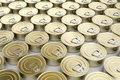 Tin cans multiple rows with Royalty Free Stock Image