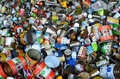 Tin cans for recycling bin full of Royalty Free Stock Image