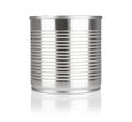 Tin containers without labels canned food on a white background with reflection Royalty Free Stock Photography