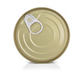 Tin containers without labels top view canned food on a white background with reflection Royalty Free Stock Photo