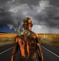 Tin man electronic faces violent storm Stock Photo