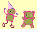 Tin man and teddy bear illustration with pink outline Stock Photography