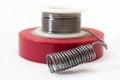 Tin solder and insulating tape Stock Photos