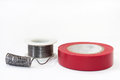 Tin solder and insulating tape Royalty Free Stock Images