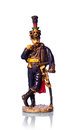 Tin soldier austrian hussar on white background with reflection Royalty Free Stock Photography